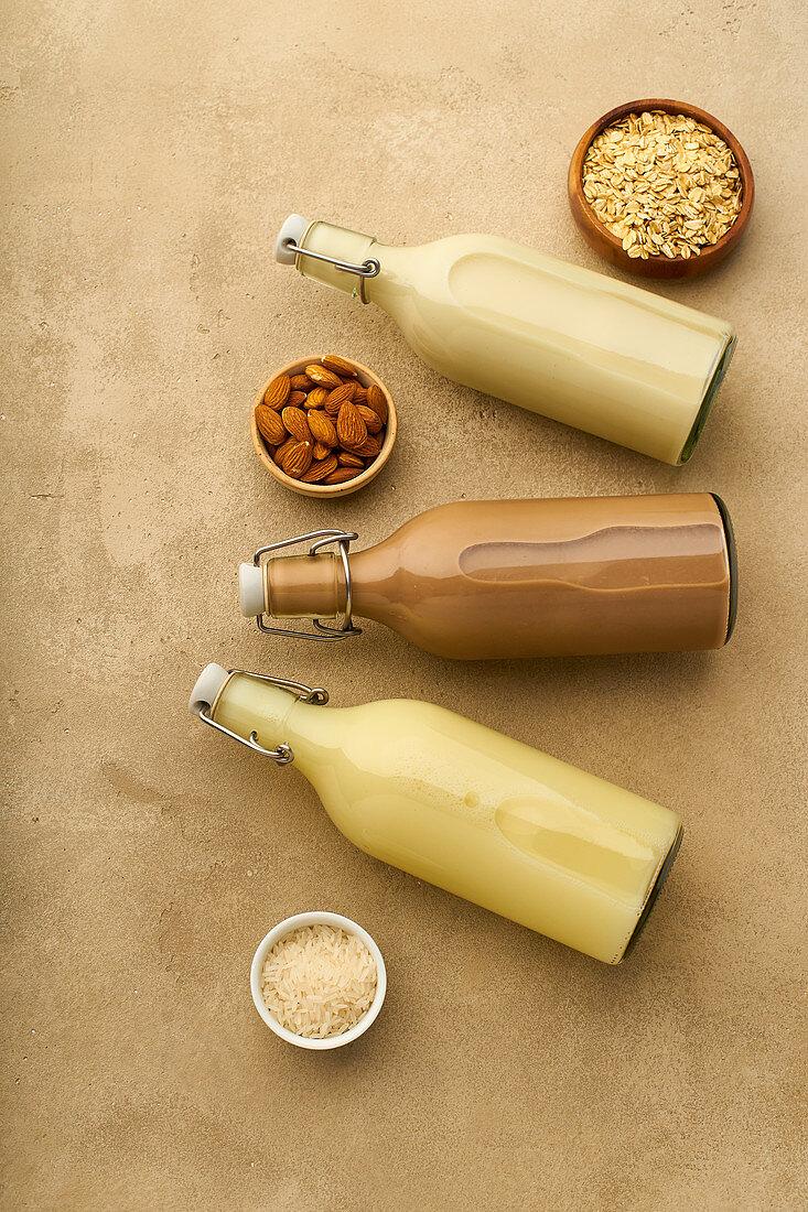 Rice milk, chocolate almond milk and oat milk in bottles