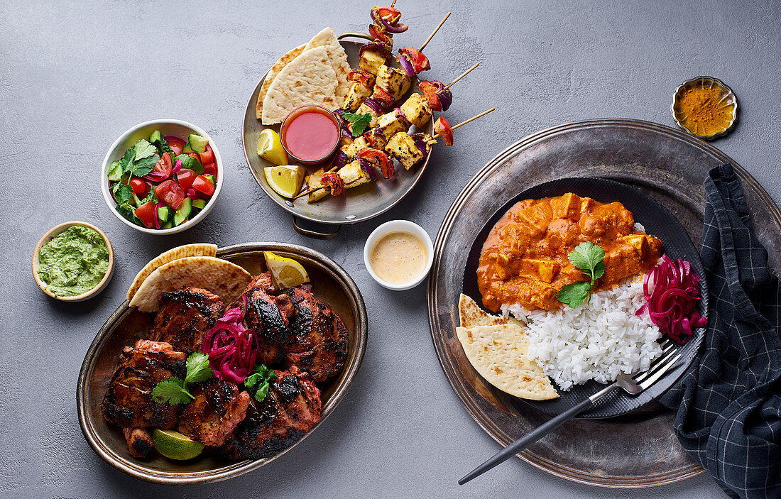 Tandoori chicken, paneer tikka masala with rice & paneer tikka kebab