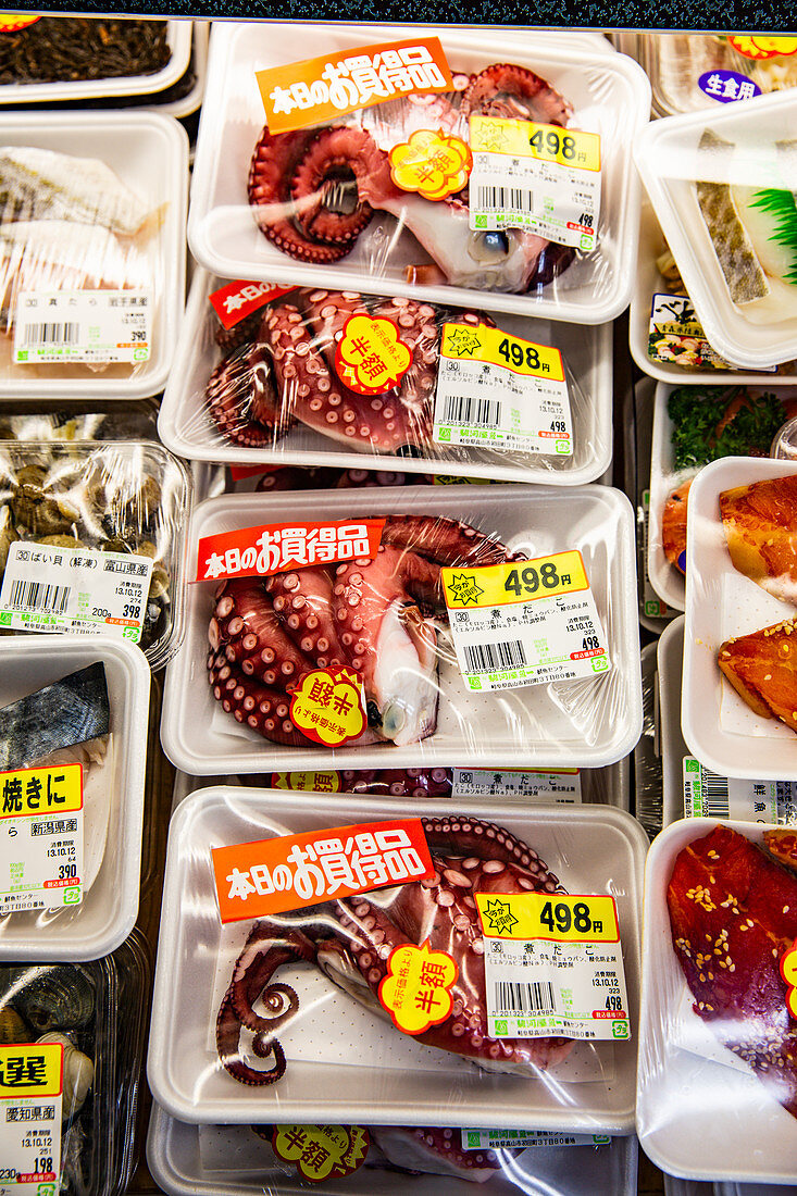 Japanese market stall packets of octopus