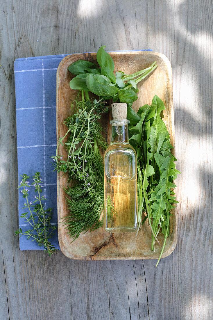 Mouthwash oil made from fresh garden herbs