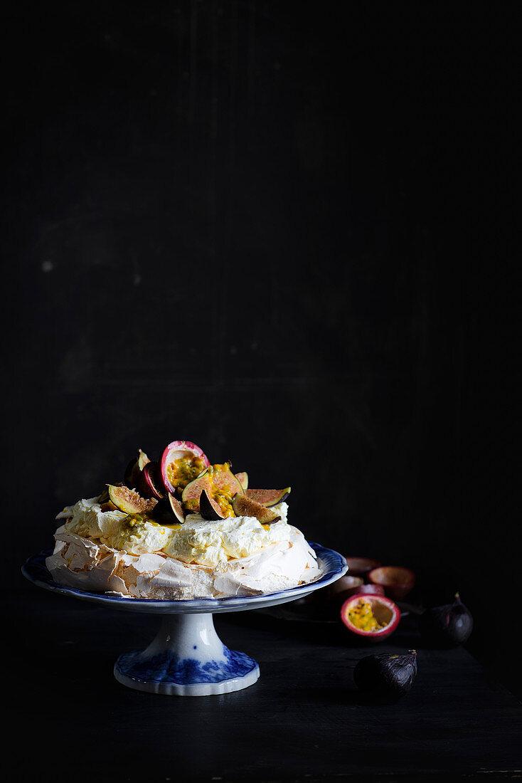 Passion Fruit Fig Pavlova