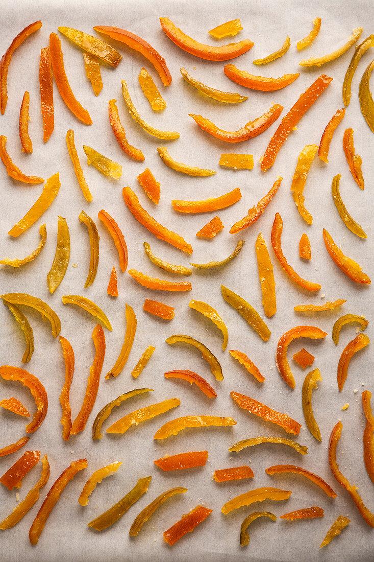 Candied citrus fruits (limes, lemons, oranges)