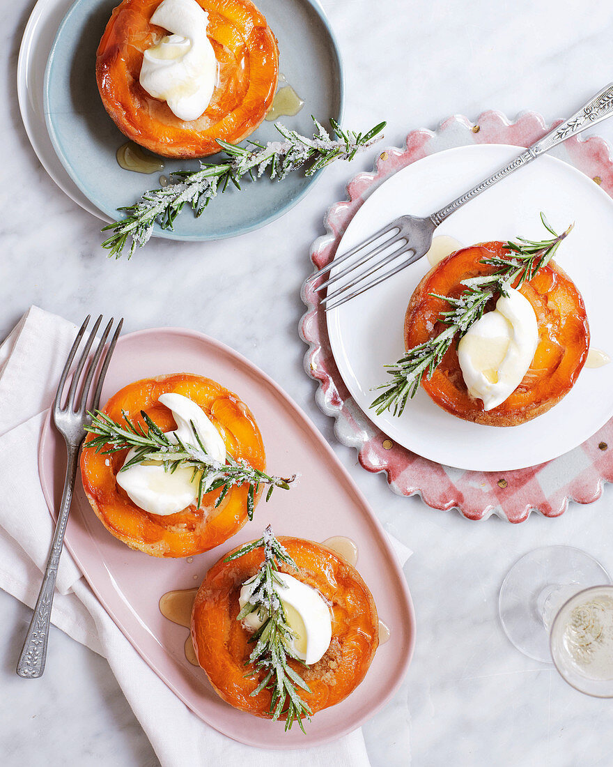 Upside-down apricot and orange blossom cakes