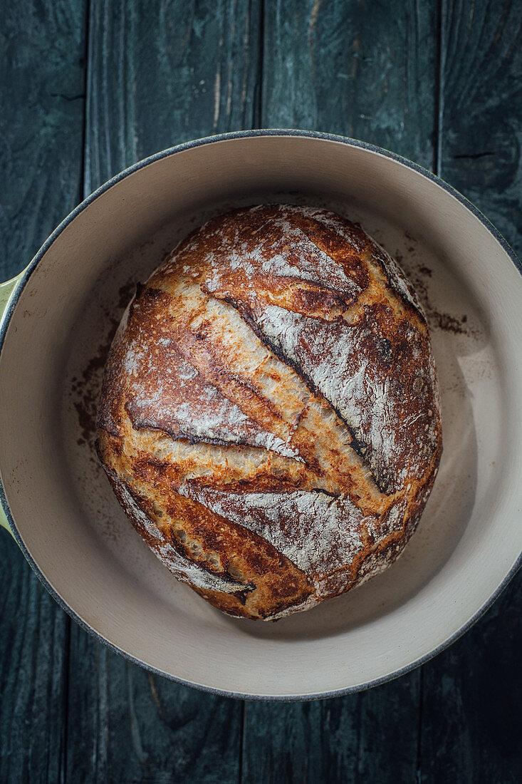 Freshly baked bread in a casserole
