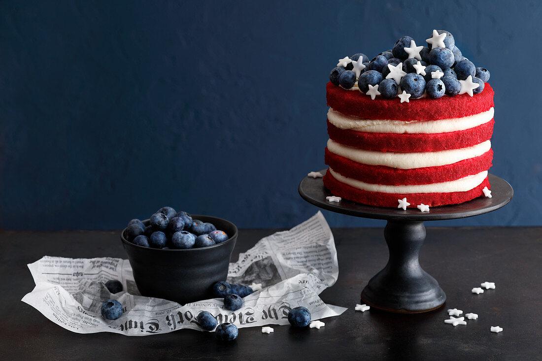 A 'Stars & Stripes' red velvet cake
