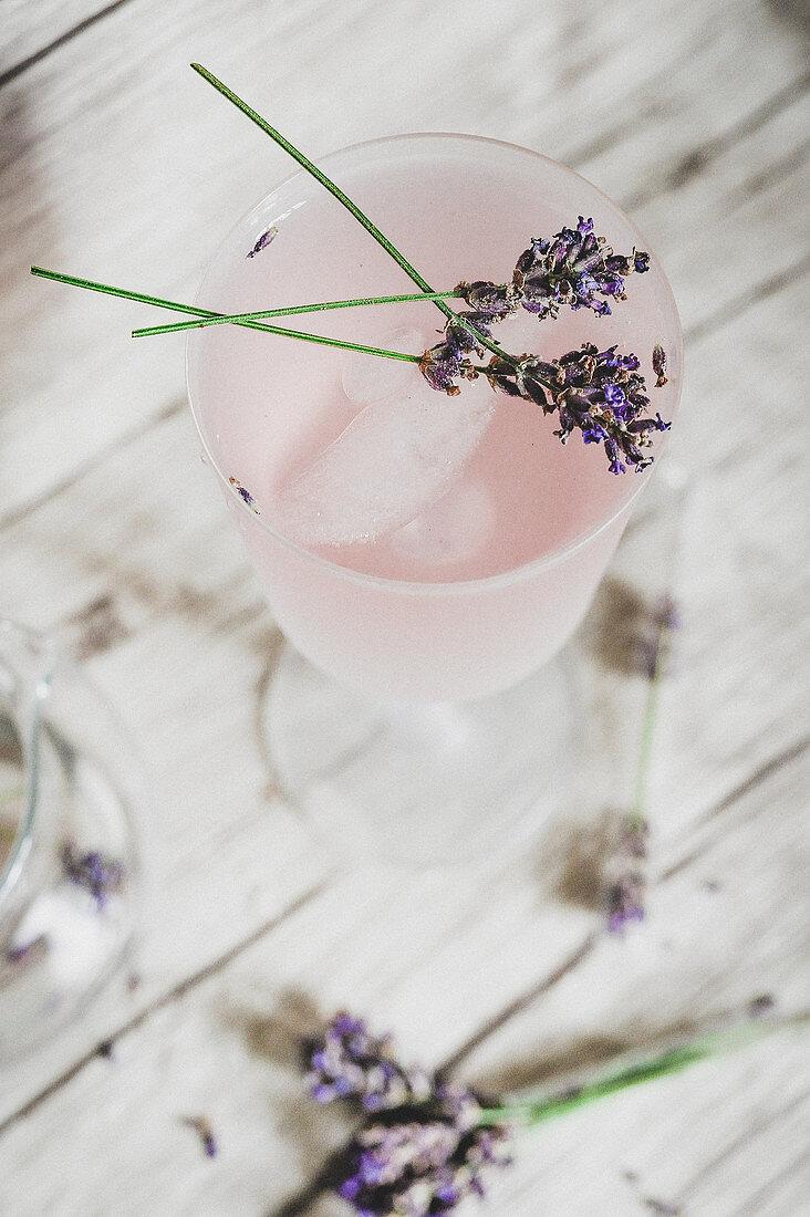 Homemade lavender lemonade in a glass