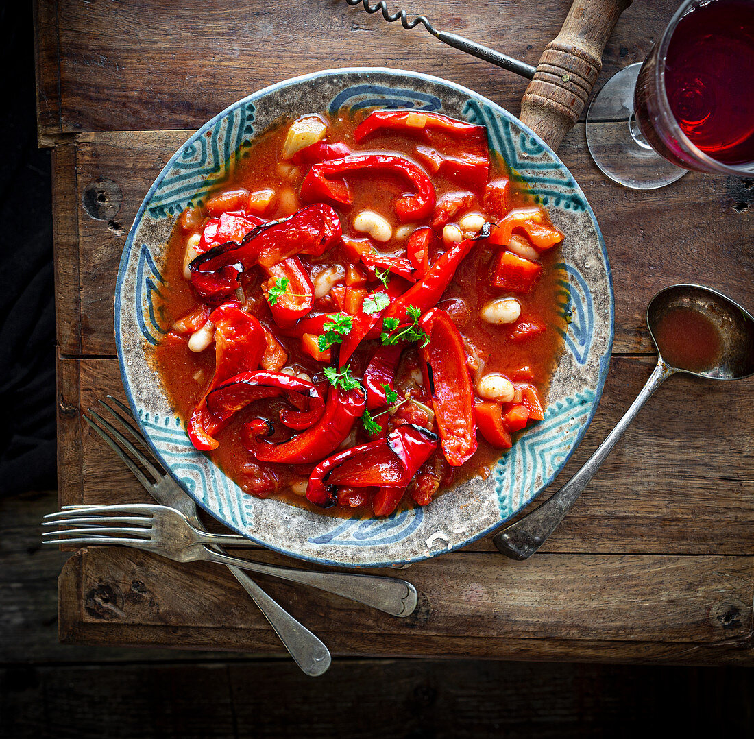 Roasted red pepper, tomato and canellini bean stew