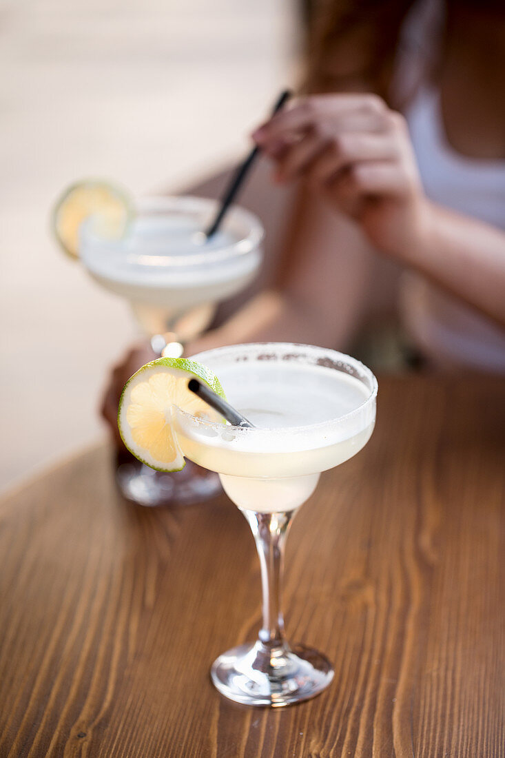 Two Alcohol Cocktails on the Table