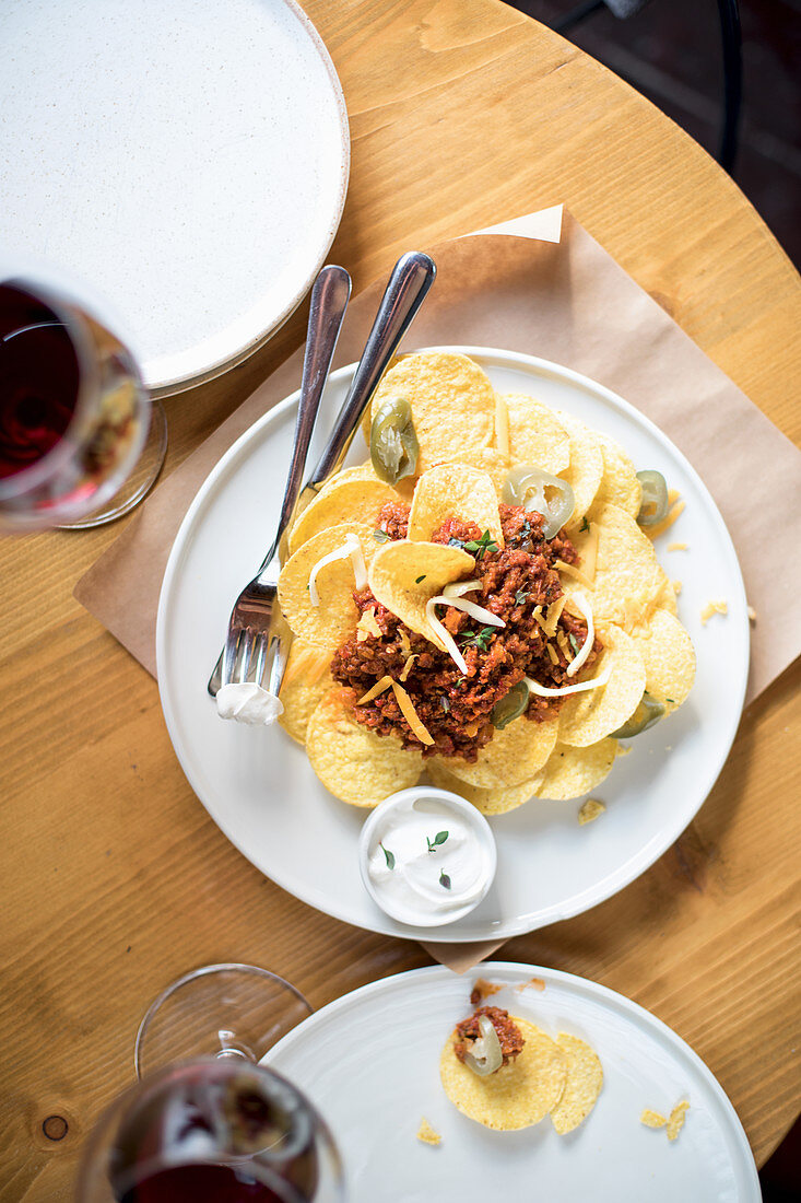 Nachos Potato Chips with Minced Meat and Jalapeno Peppers