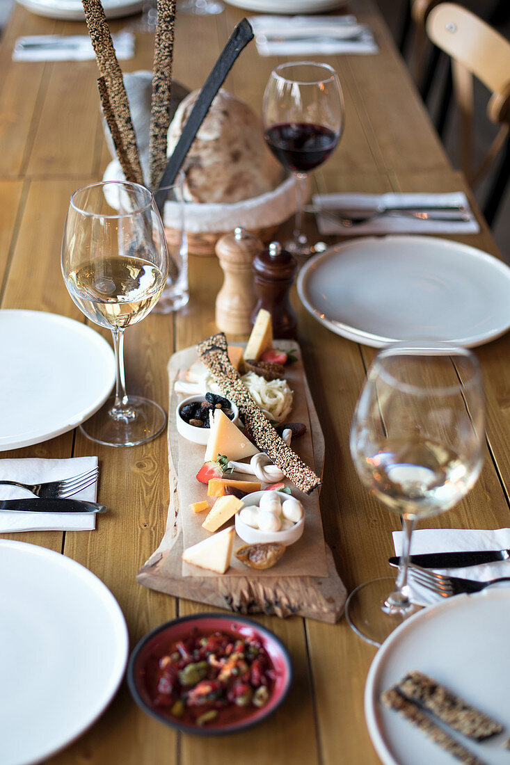 Snackes Plate on Wine Served Table