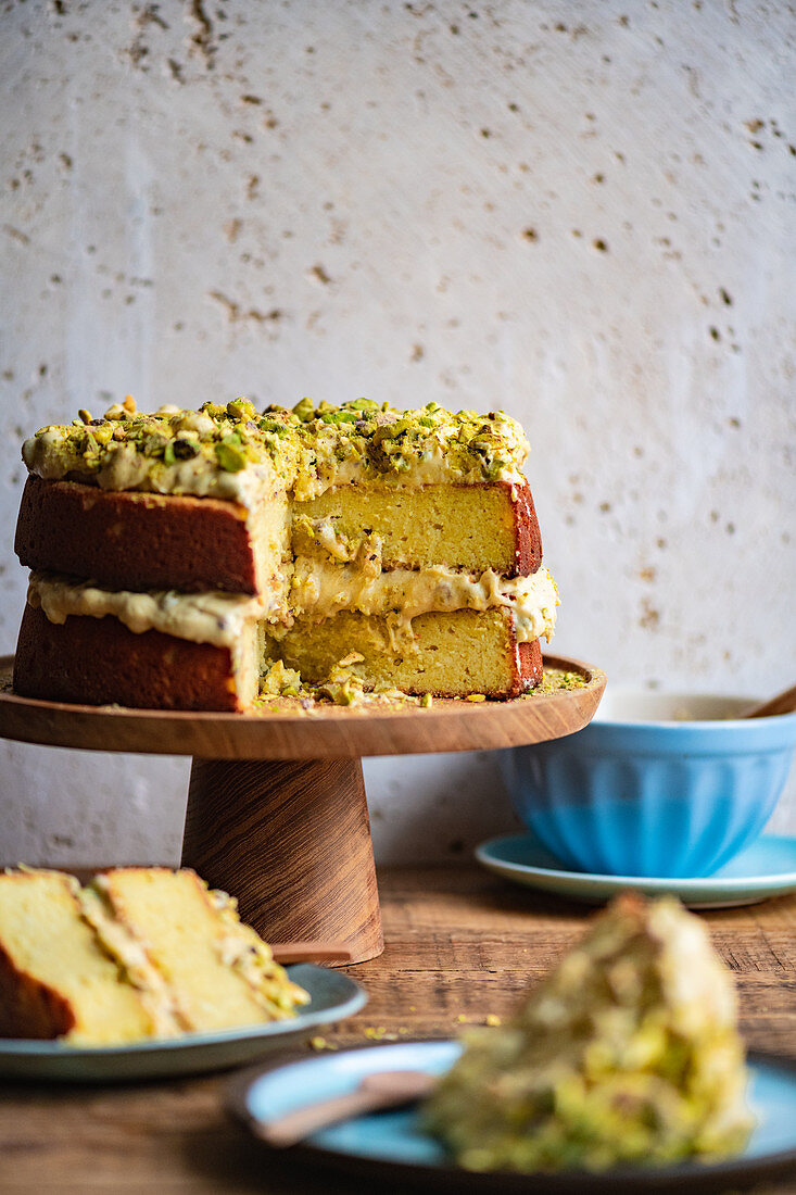Gluten Free Lemon Almond Cake with Pistachio Frosting