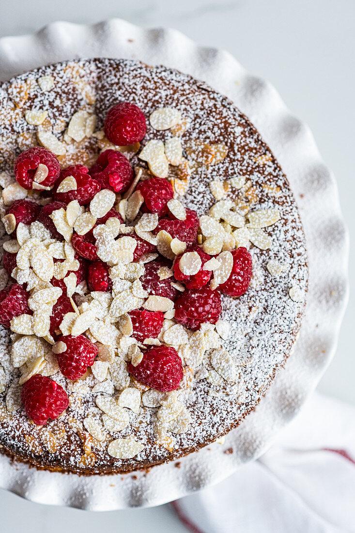 Raspberry Yoghurt Cake with Almond Flakes