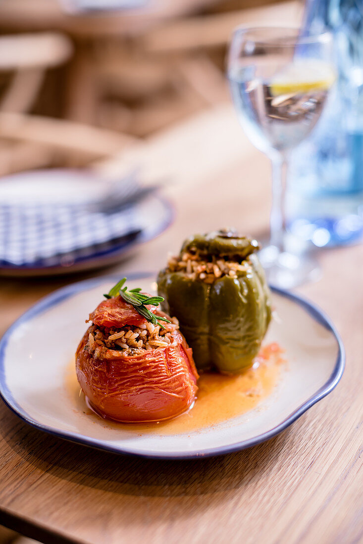 Gemista - Greek tomatoes and peppers with beef mince filling