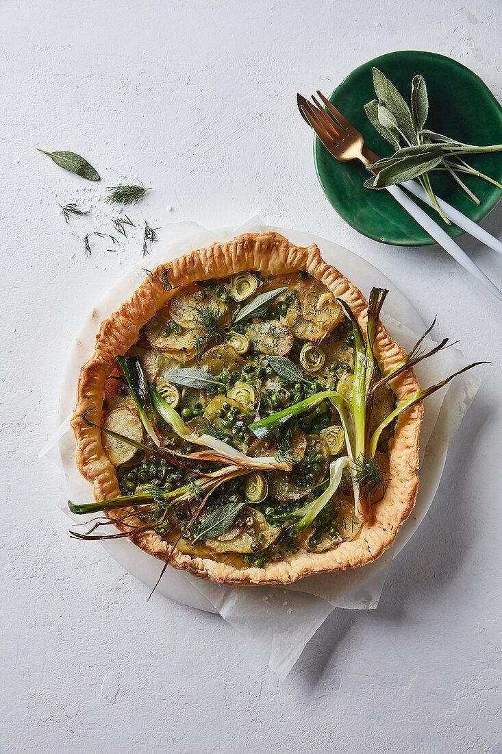 Irish potato, leek and pea pie