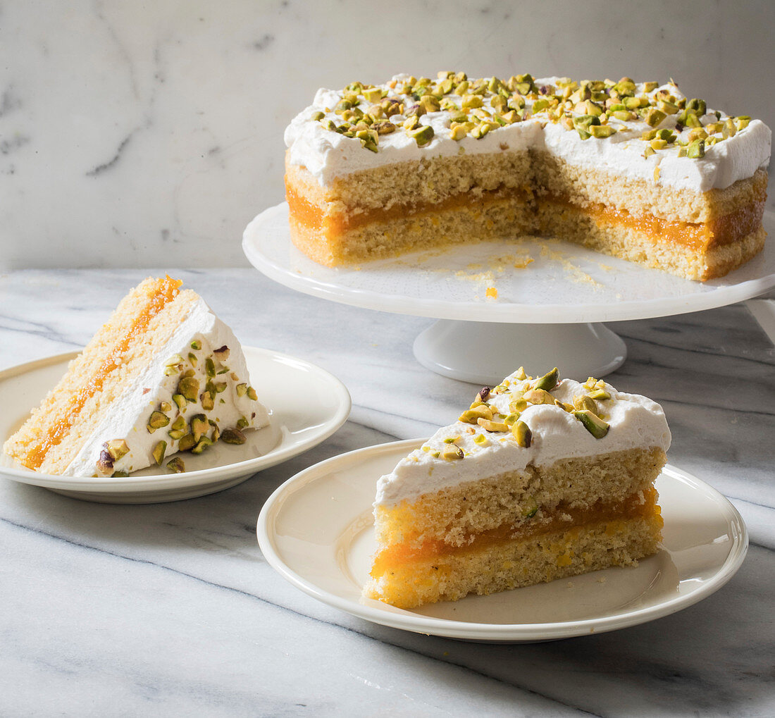 Cornmeal cake with apricot bay compote and pistachios