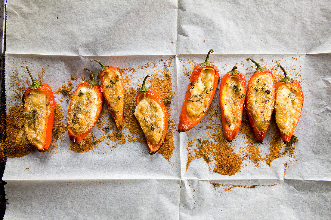 Angello peppers stuffed with goat cheese