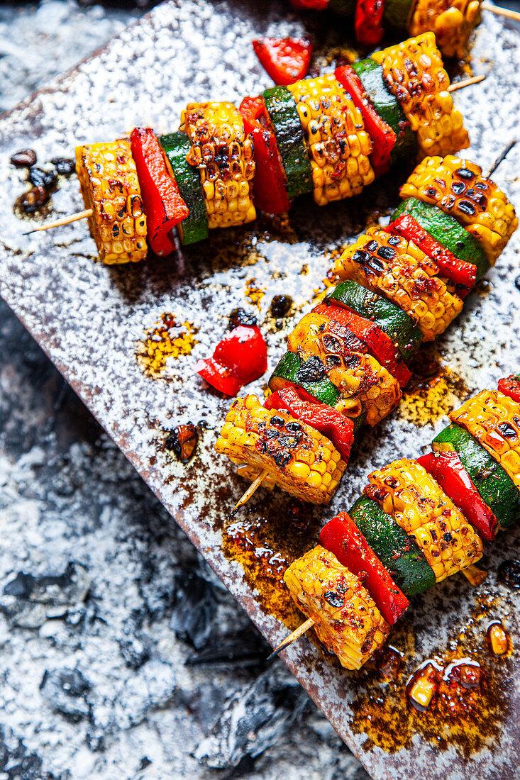 Grilled corn and vegetable skewers