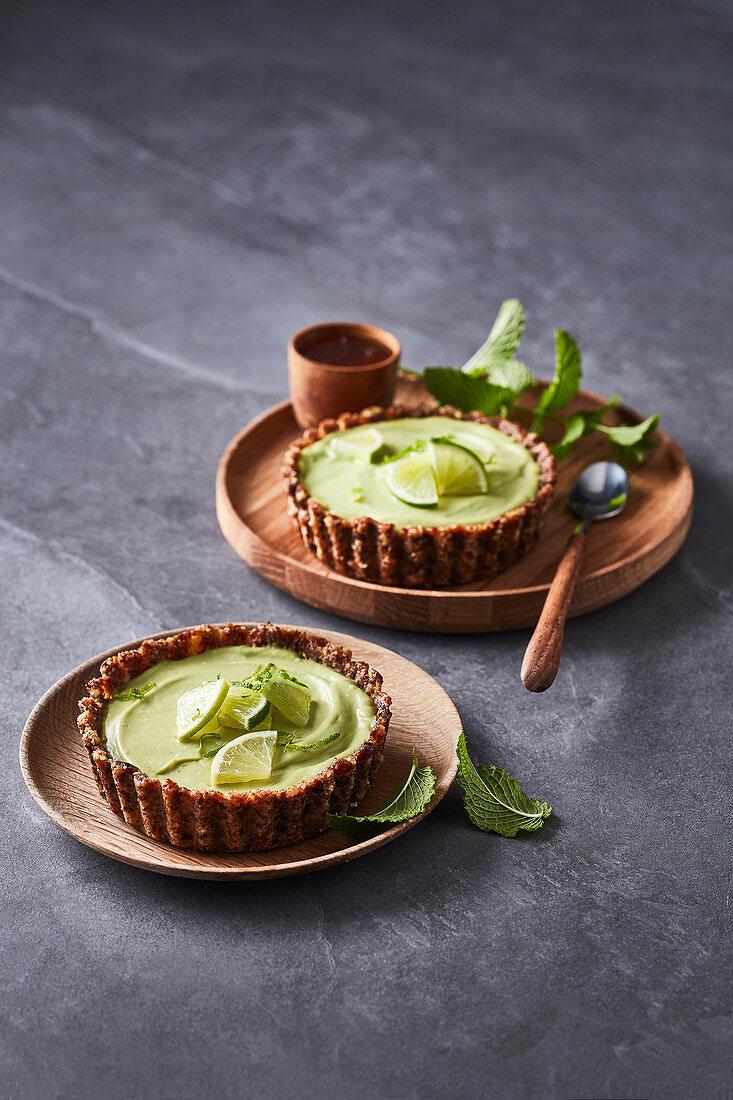 Vegan avocado and lime tartlets