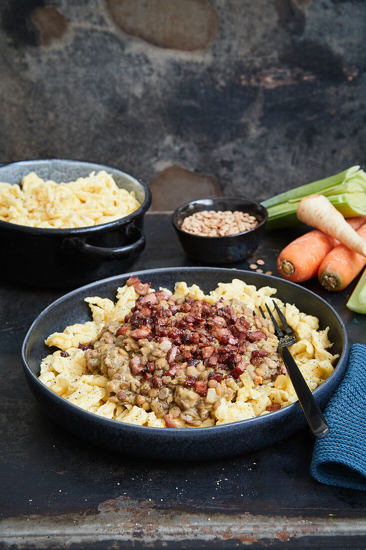 Lentil stew with bacon and Spätzle (soft egg noodles from Swabia)