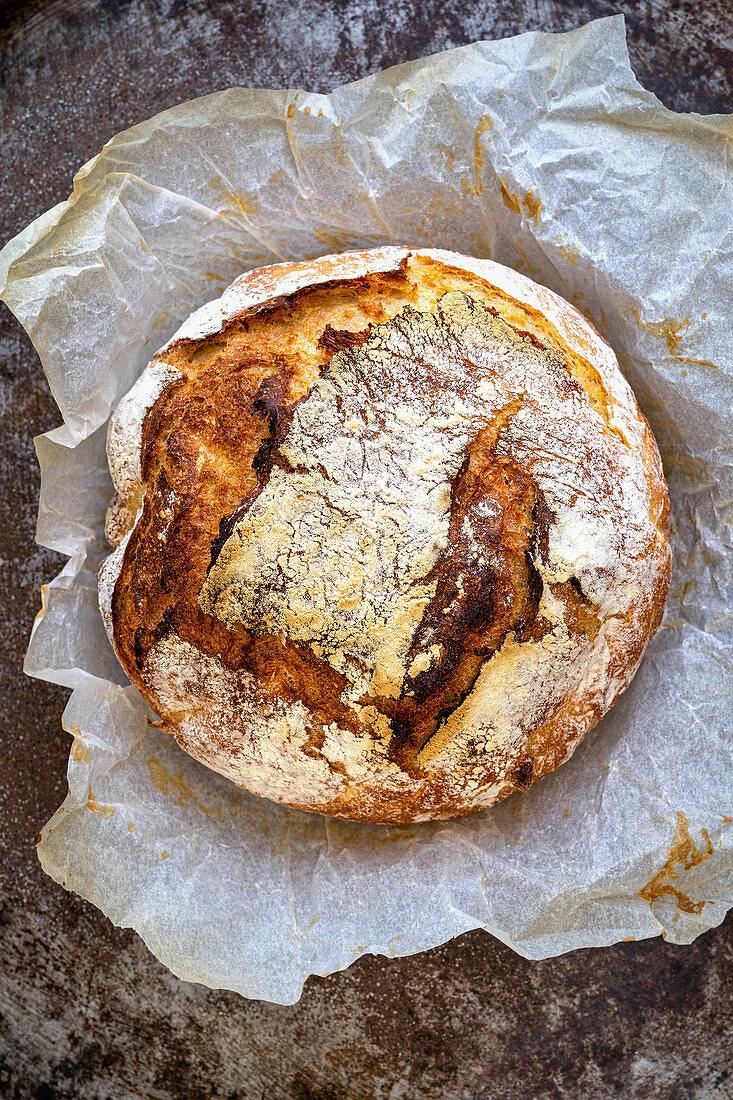 No knead bread on baking paper