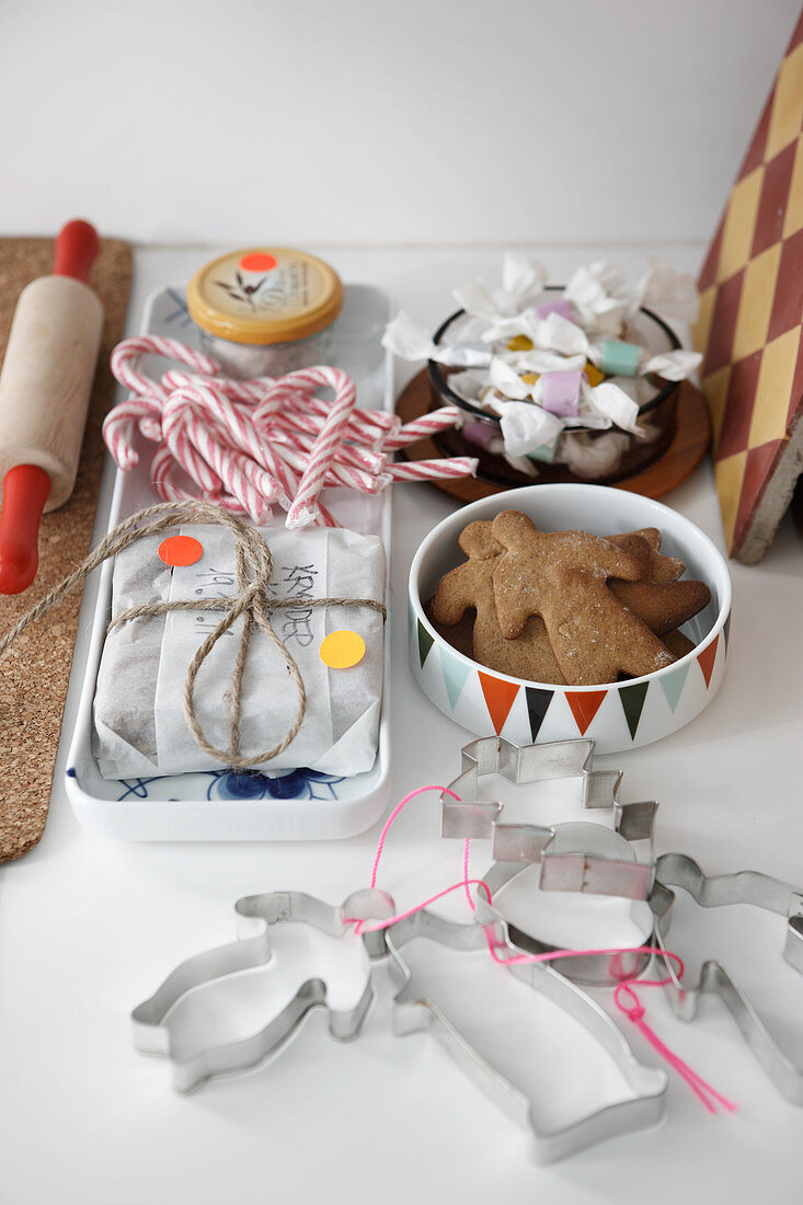 Pastry cutters, Christmas biscuits and baking utensils