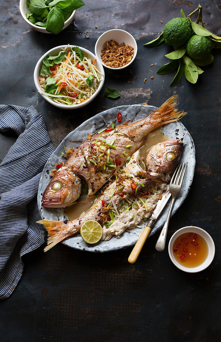 Oriental-style oven-baked fish