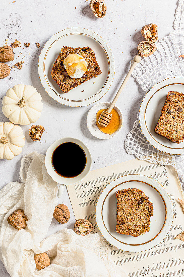 Walnut, honey and chocolate banana loaf