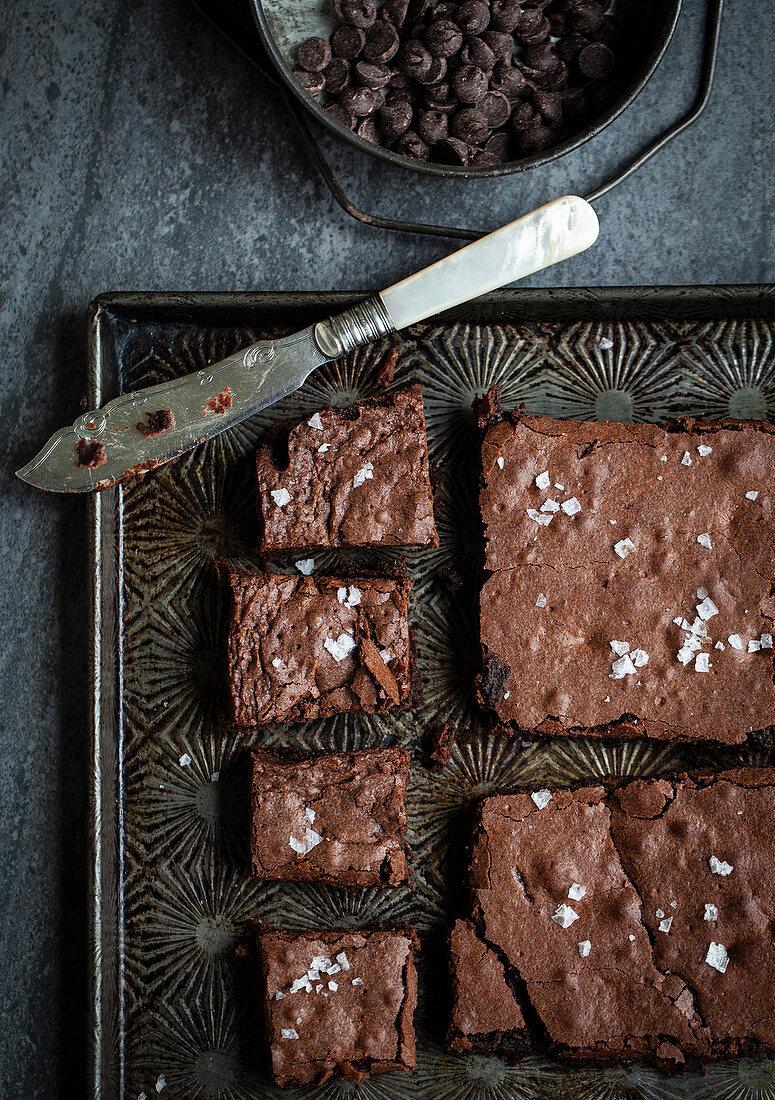 Chocolate brownies sprinkled with sea salt