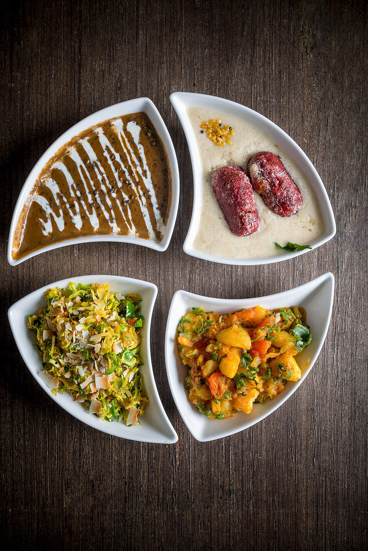 Dal Makhani Beetroot Kofta Brussel Sprout Thoran and Heritage Potato curry (India)