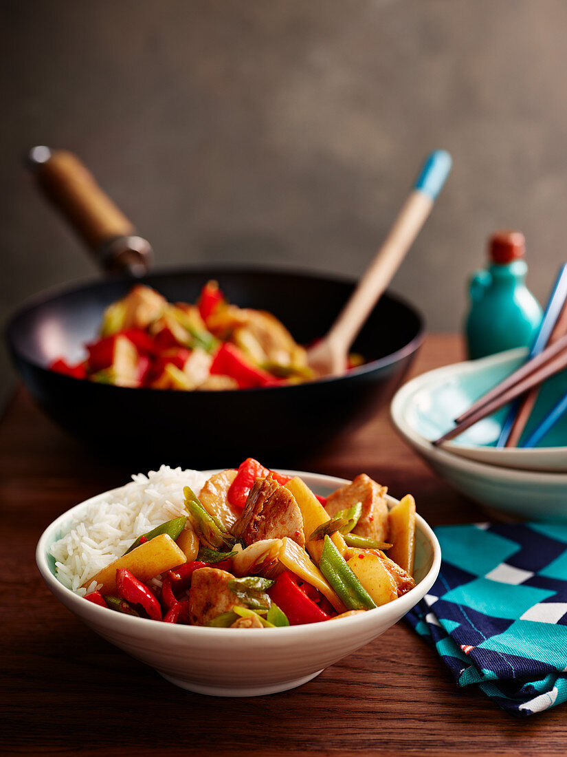 Kung Pao Chicken Stir fry with Rice
