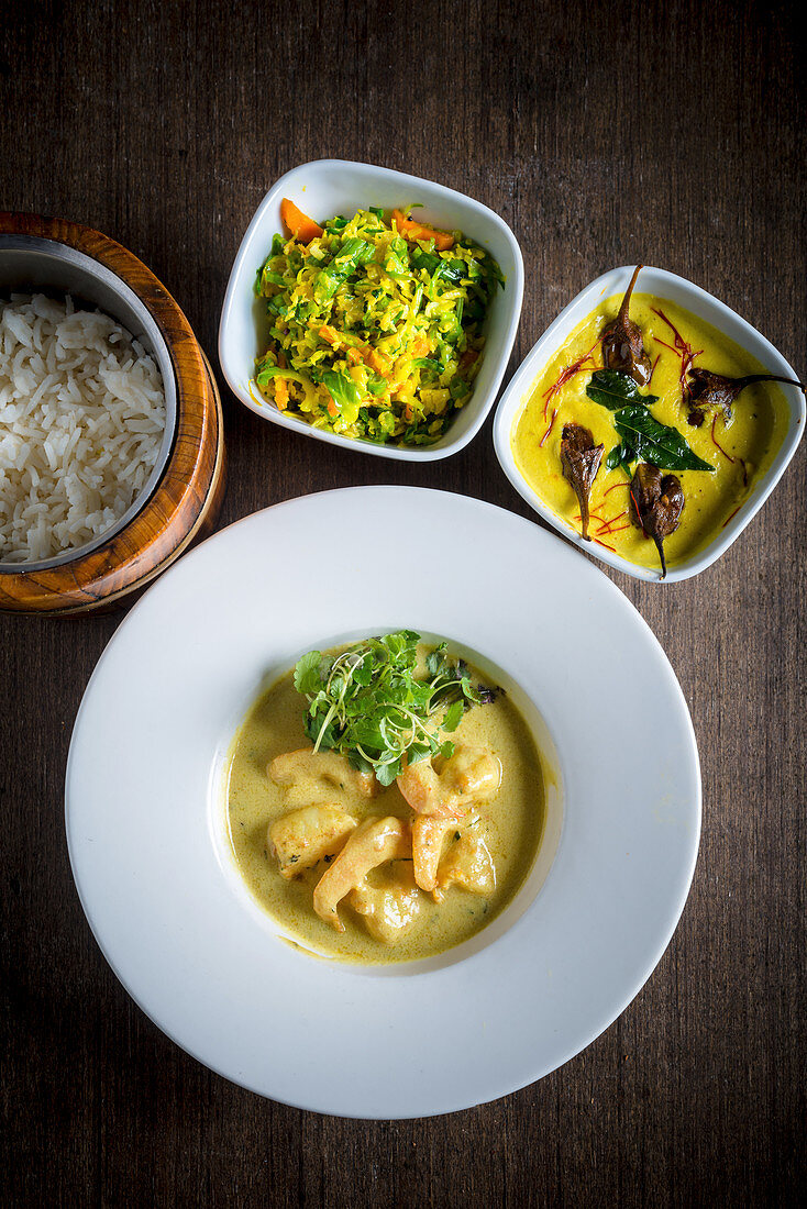 Leeli Prawn Curry with Vegetables and Rice (India)