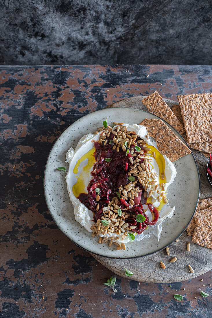 Labneh with pomegranate onions spread