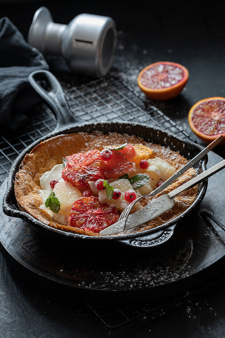 Dutch baby with blood oranges