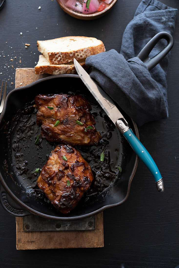 Spare ribs in barbeque sauce