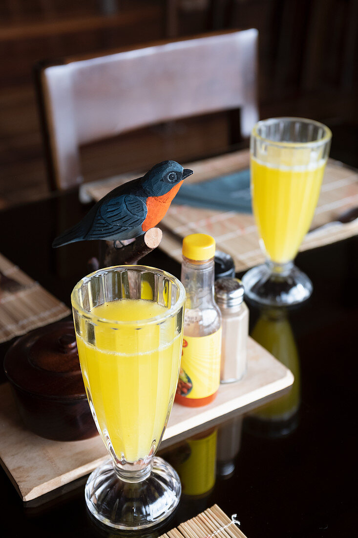 Drinks and bird decorations in the Los Quetzales Lodge, Costa Rica, Central America