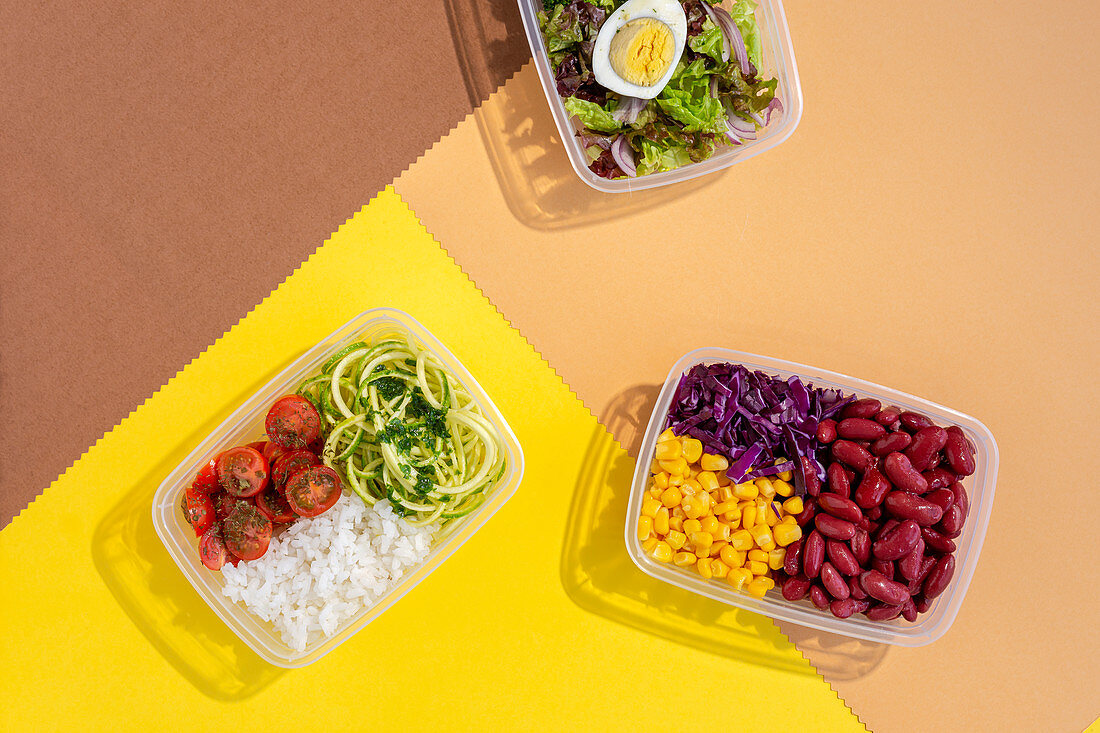 Homemade food in lunch boxes with healthy vegetable