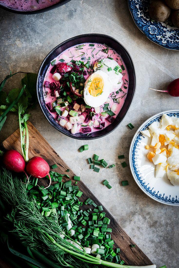 Cold Beetroot Soup (Lithuanians Cuisine)