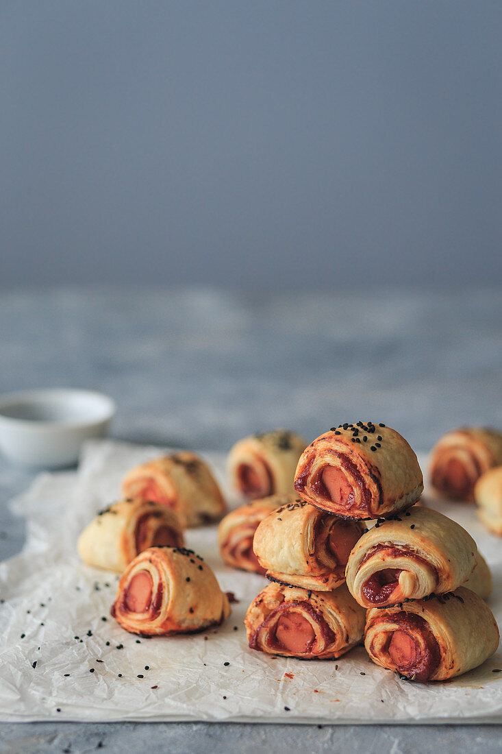 Vegan pigs in blankets with plant bases sausage alternative