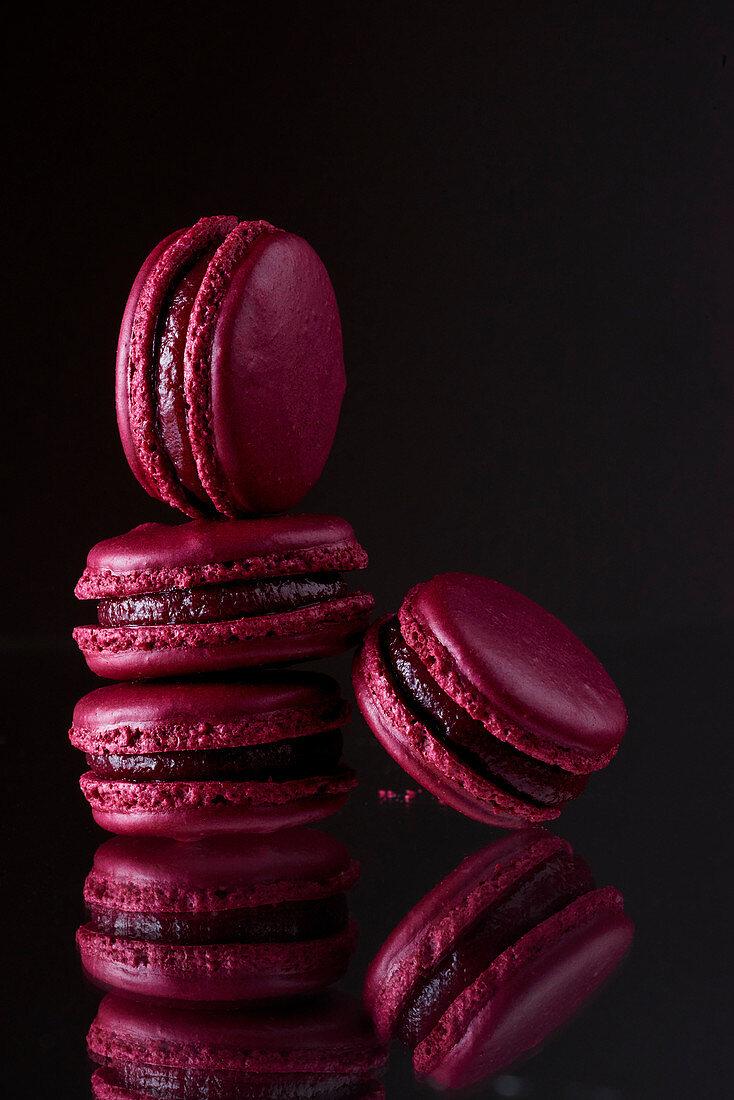 Dark-red macaroons