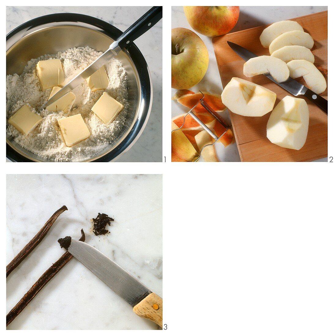 Preparing apple brulee with vanilla sauce