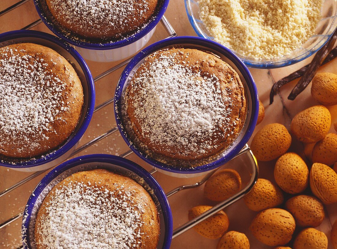 Almond Souffles with Powdered Sugar