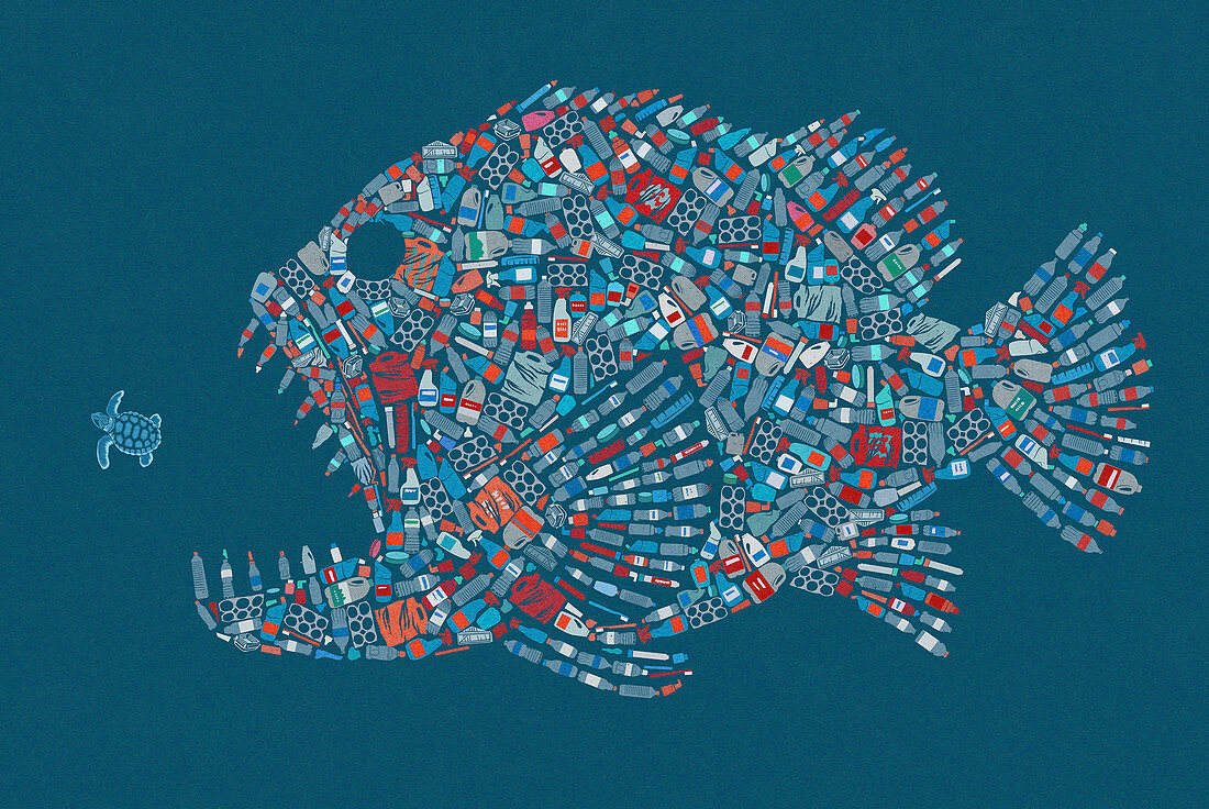 Large fish formed from plastic waste, illustration