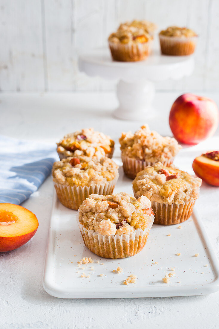 Peach and streusel muffins