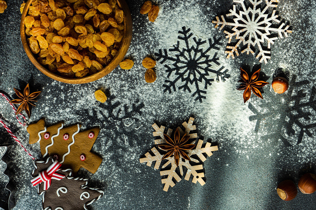 Cooking concept for cookies for Christmas holiday on stone background with copy space