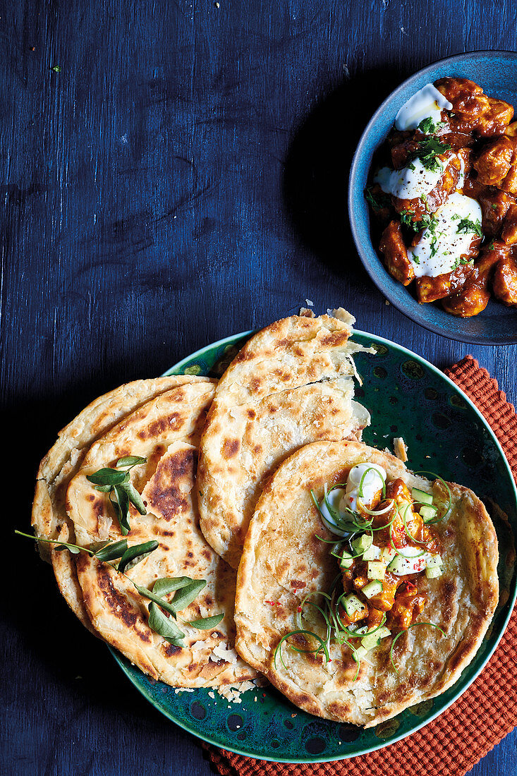 Indian rotis with butter chicken