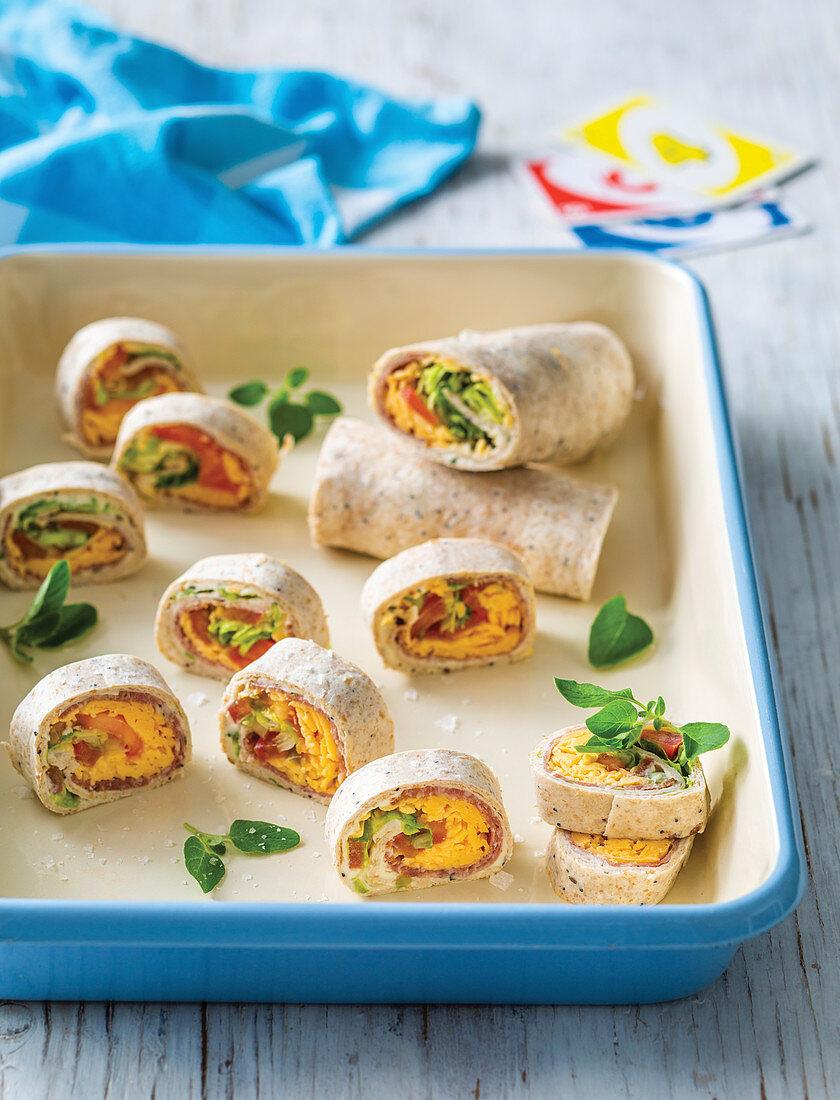 Salami and cheese pinwheels