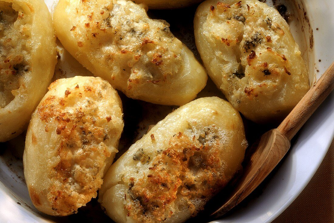 Jacket Potatoes Stuffed with Roquefort Cheese