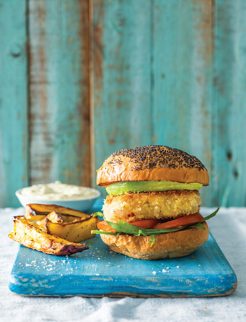 Fish burgers with sweet potato wedges and tartar sauce