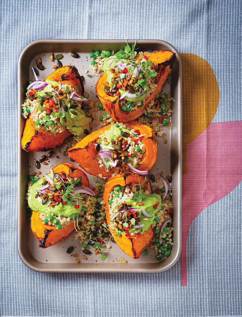 Roast winter squash with quick avocado pesto and micro herbs