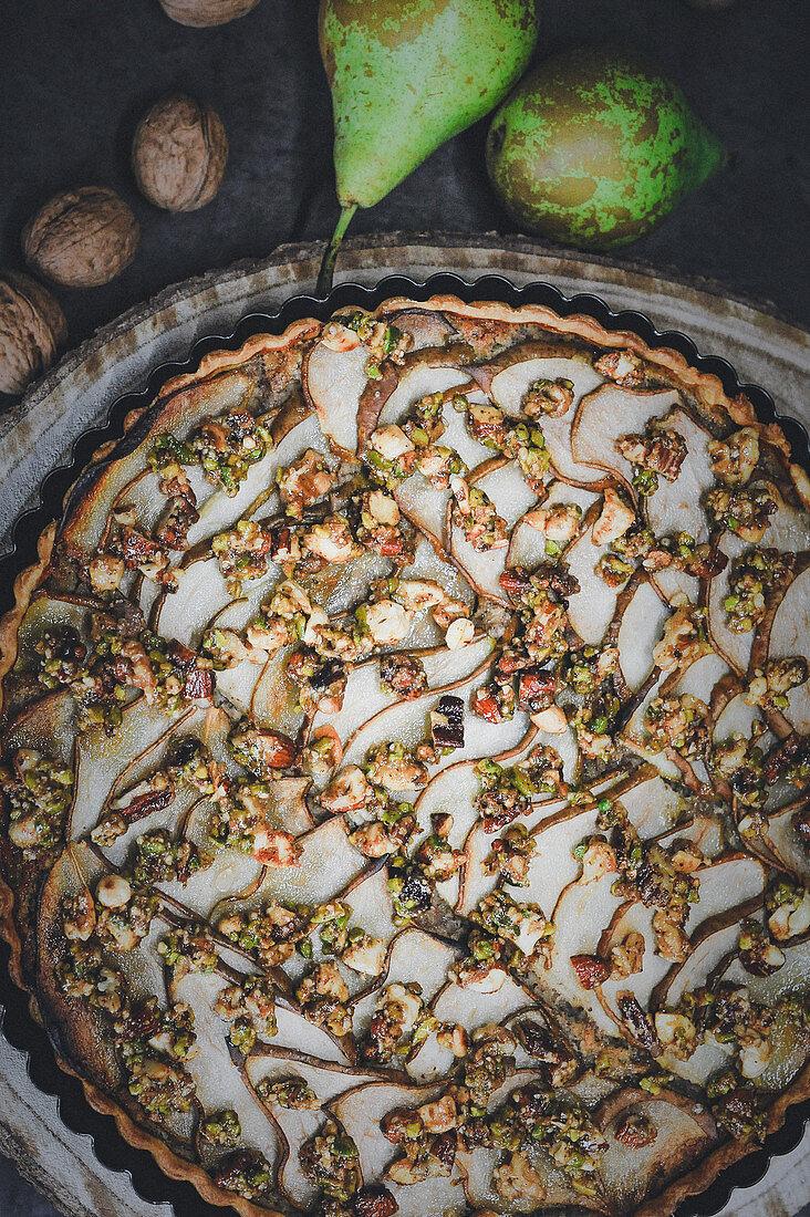 Pear frangipane tart with caramelised nuts